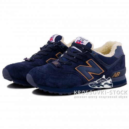 Зимние New Balance 574 Dark Blue/Yellow With Fur