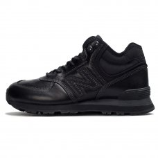 Зимние New Balance 574 High All Black With Fur