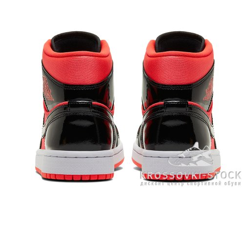 Мужские Nike Air Jordan 1 Bred Features Contrasting Patent Leather With Nylon