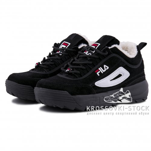 Зимние Fila Disruptor 2 Black/White With Fur