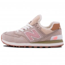 Зимние New Balance 574 Beige/Pink With Fur