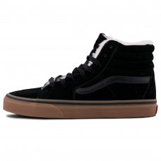 Зимние Vans Old Skool High Black/Brown With Fur
